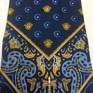 Blue and Yellow Versace Silk Tie